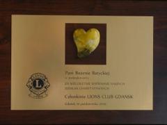 Bursztynowe Serce dla Sponsora - Bożeny Batyckiej