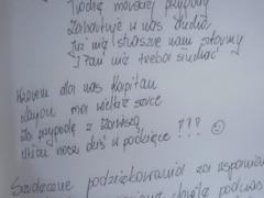 Fragment wpisu dzieci z Gołotczyzny do księgi pamiatkowej - proszę kliknąć na miniaturkę, by powiększyć zdjęcie